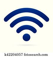 blue wifi icon wireless symbol on isolated background