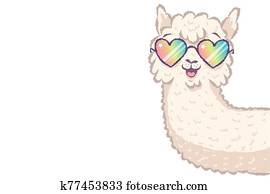 llama with rainbow glasses