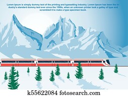 Sightseeing train running in mountains, the Glacier Express in winter