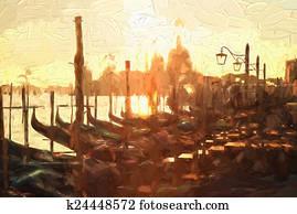 Venice with gondolas, Italy, Oil painting