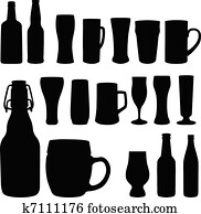 Beer bottles and glasses