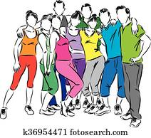 fitness group people illustration