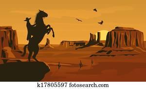 Illustration of prairie wild west.