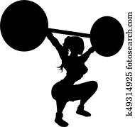 Weightlifting woman silhouette
