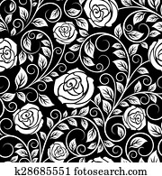 White roses seamless pattern on black background
