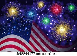 American flag and Independence Day fireworks