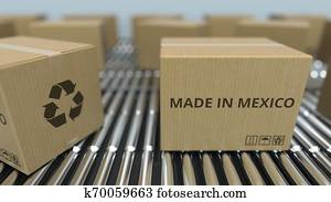 Boxes with MADE IN MEXICO text on roller conveyor. Mexican goods related 3D rendering