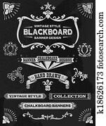 Chalkboard banner and ribbon set