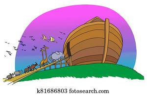Different animals come in the ark of Noah.
