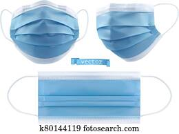 Medical mask, surgical mask, virus and infection protection. 3d realistic vector objects
