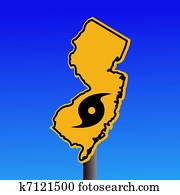 New Jersey warning sign with hurricane
