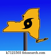 New York warning sign with hurricane