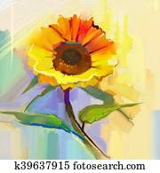 Oil painting a single yellow sunflower with green leaves