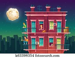 residential multi-storey apartment at night, neighborhood
