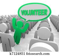 Volunteer Speech Bubble Person in Helper Crowd