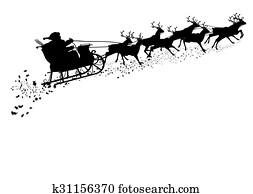 weihnachtsmann, mit, rentier schlitten, -, schwarz, silhouette.