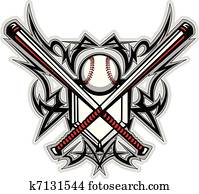 Baseball Softball Bats Tribal Graph