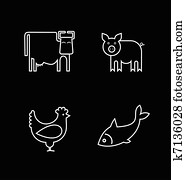 Cow, fish, chicken and pig - vector icons.