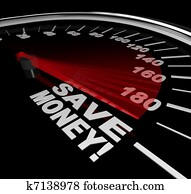 Save Money - Discount Sale Words on Speedometer