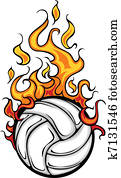 Volleyball Flaming Ball Vector Cart