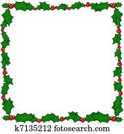 weihnachten, stechpalme, umrandungen, rahmen