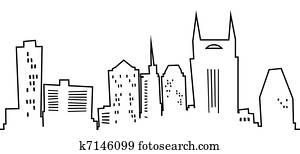 Cartoon Nashville Silhouette