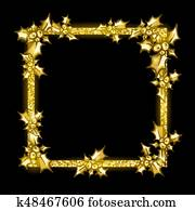 Golden glittering frame, sprig of Holly with berry, on black.
