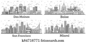 Outline San Francisco California, Miami Florida, Des Moines Iowa and Boise Idaho City Skylines with Modern Buildings Isolated on White.