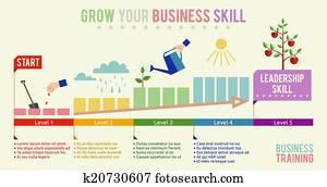 wachsen, dein, geschaefts, geschicklicheit, infographics, schablone