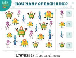 wie, viele, von, jedes, art, karikatur, roboter, kinder, z?hlen, spiel, vektor, abbildung