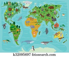 Stock Photograph of Funny cartoon world map with children of ...