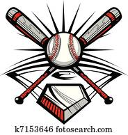 baseball, oder, schlagball, gekreuzte, flederm?use, w