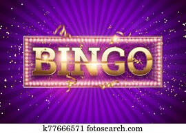 Creative background, bingo lettering in gold letters on a purple background. Concept win, casino, idea, luck, lotto. 3D illustration, 3D rendering.
