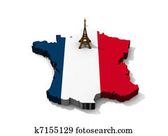 Eiffel tower on map of France