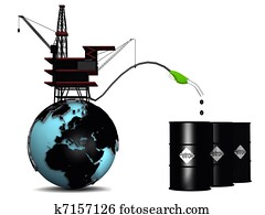 Globe with oil rig and petroleum drums