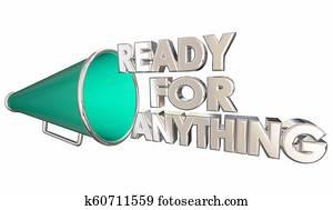 Ready for Anything Prepared Bullhorn Megaphone 3d Illustration