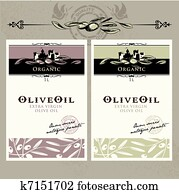 Set of olive oil labels