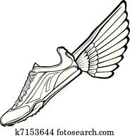Track Shoe with Wing Vector Illustr