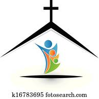 familie, in, kirche, logo