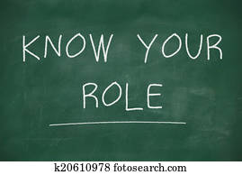 Know your role handwritten on blackboard