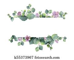 Watercolor banner with green eucalyptus leaves, purple flowers and branches.