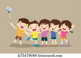 Children making selfie photo