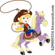 Cowgirl rider on the horse