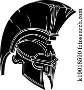 ein, abbildung, von, a, spartan, oder, trojan, krieger, oder, gladiator, helm