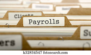Payrolls Concept with Word on Folder.