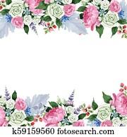 Pink bouquet flowers. Floral botanical flower. Frame border ornament square.