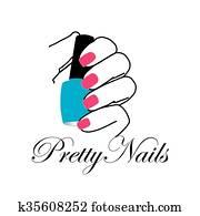 Pretty nails with a nail polish