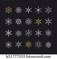 Snowlakes set, geometric Christmas pattern and background