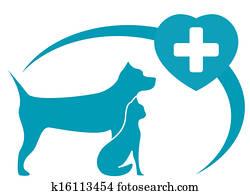 veterinary symbol with dog, cat