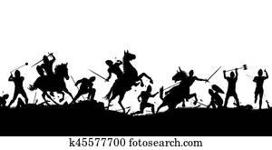 Battle scene silhouette